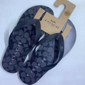 Coach Casual Style Flip Flops Logo Flat Sandals